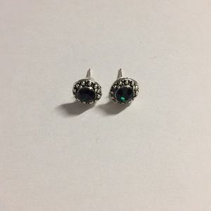 Dark Green Rhinestones Silver Plated Stud Earrings